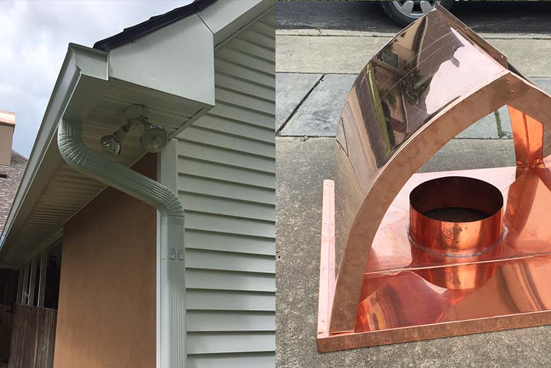 Gutter Work and Copper Chimney Cap | Gutter and Accessories
